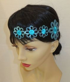 Art Deco Headband TURQUOISE Flower Headband by BellaCescaBoutique, $27.50
