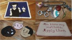 Look at my stash from zzdia - Abby cross stitch, TV pin, Community felties and Sherlock quote