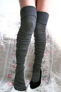 Charcoal long cuffable scrunchable socks.