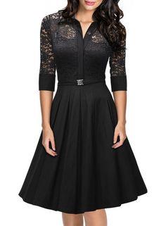 Missmay Women's Vintage 1950s Style 3/4 Sleeve Black Lace Flare A-line Dress
