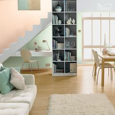 Combine gentle pastels from our Seaside Chic palette with our Light & Space range to create an open-plan living area and add important focal points to a room. Living Room Inspiration, Color Inspiration, Dulux Light And Space, Deco Cool, Pastel Colour Palette, Paint Colours, Room Colors, Living Room Paint, Open Plan Living