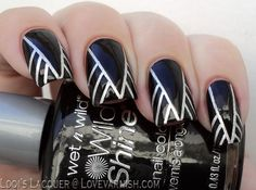 18 Striped DIY Nail Designs - Epic black and silver manicure.
