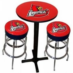 Sports Fan Products SFP-1860-LOU Louisville Cardinals Varsity Black Pub Table with Two Bar Stools