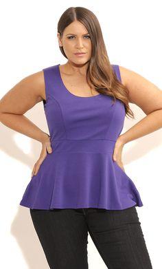 City Chic SCOOP PEPLUM TOP - Women's Plus Size Fashion