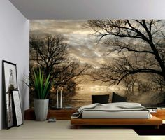 Autumn Tree Forest Lake - Large Wall Mural, Self-adhesive Vinyl Wallpaper, Peel & Stick fabric wall decal We use PhotoTex for our wall murals Selling removable self-adhesive wallpaper fabric. Foto-Tex i Vinyl Wallpaper, Adhesive Wallpaper, Adhesive Vinyl, Forest Wallpaper, Textures Murales, Poster Mural, Large Wall Murals, Tree Forest, Autumn Trees