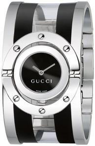 c68e19cb3fc Gucci Women s YA112414 Twirl Medium Black and Transparent Acetate Bangle  Watch Cool Watches
