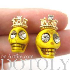 Yellow Skeleton Skull Crown Royalty Earrings with Rhinestone Eyes
