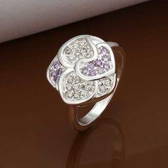 silver plated ring fashion jewelryAustria Crystal Flower ring SMTR350