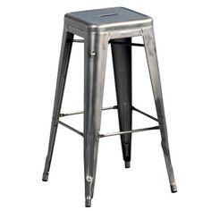 H High stool - Varnished raw steel - H 75 cm