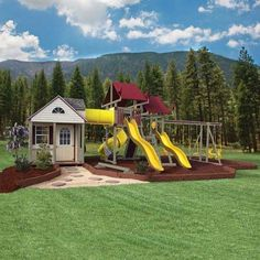 playhouse swing set plans | Swing Kingdom Cottage Escape Playhouse Vinyl Swing Set in Clay, Red ...