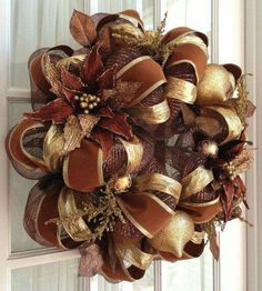 Deco Mesh Wreath Chocolate Brown Gold Poinsettia Door Wreath (Looks more like fall than Christmas to me, but pretty! Christmas Mesh Wreaths, Holiday Wreaths, Christmas Crafts, Christmas Decorations, Christmas Tree, Winter Wreaths, Spring Wreaths, Wreath Crafts, Diy Wreath