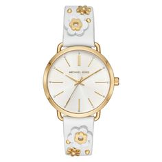 Michael Kors Watches Womens Portia Gold-Tone and White Leather Floral Applique Women Wrist Watches Toned Women, Ring Verlobung, Daniel Wellington, Michael Kors Watch, White Leather, Gold Watch, Jewelry Watches, Women's Watches, Unique Watches