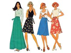 1970s Wrap Skirts UNCUT Sewing Pattern Size 10 by ViennasGrace