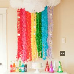 Rainbow Party. Even one large white pom pom with streamers would work