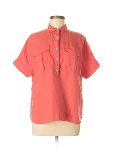 4ef8bb499c8 J. Crew 100% Linen Solid Coral Short Sleeve Blouse Size 6 - 80%