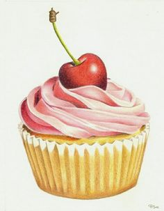 The Perfect Pink Cupcake Art Print by Patricia Shea Designs - X-Small Cupcake Kunst, Cupcake Art, Cupcake Clipart, Cupcake Illustration, Cupcake Rosa, Cupcake Drawing, Pink Cupcakes, Cupcakes Design, Cherry On Top