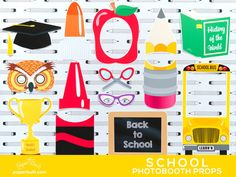 Back to School Photo Booth Props Photobooth by PaperBuiltShop
