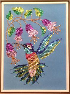 Sequin Art humming bird with beads Dot Art Painting, Mandala Painting, Mandala Art, Diy Arts And Crafts, Creative Crafts, Bead Crafts, Button Art, Button Crafts, Sequin Crafts