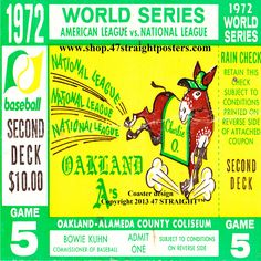 Available soon. 1972 World Series Champions. Oakland A's. Oakland A's Father's Day Gifts from 47 STRAIGHT.™ Baseball Ticket Coasters™ made from an authentic 1972 World Series baseball ticket. Great Father's Day baseball gifts. #47straight Best Father's Day Gifts on Pinterest. http://gentlemint.com/users/47STRAIGHT/ Father's Day Gifts on Gentlemint!