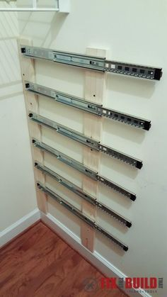 Pallets Shelves He installs drawer sliders in closet for pull-out closet storage - How to organize your closet clutter with floating pallet crate storage. Clean up your pantry with unique sliding crates. Save space and add organization! Pallet Crates, Pallet Storage, Crate Storage, Wood Crates, Diy Storage, Storage Ideas, Extra Storage, Storage Solutions, Diy Pallet