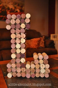 Wine Cork Monogram - for my Sis who has a ton of wine corks, please make me one?!