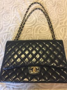dd5672ce8850 Chanel Maxi Double Flap Quilted Lambskin HandBag Black Gold w  Convertible  Strap Chanel Maxi
