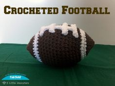 Crochet Toys For Boys A stuffed, crocheted football perfect for babies and toddlers, filled with poly-fil it is light and soft. - A stuffed, crocheted football perfect for babies and toddlers, filled with poly-fil it is light and soft. Crochet Ball, Love Crochet, Learn To Crochet, Crochet Toys, Crochet Things, Crochet Lovey, Kids Crochet, Crochet Projects, Craft Projects