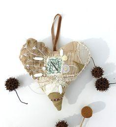 Beige heart IV fiber art ornament large by Cesart64 on Etsy