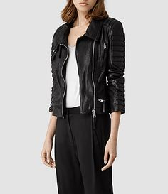 Womens Steine Leather Biker Jacket (Black) | ALLSAINTS.com