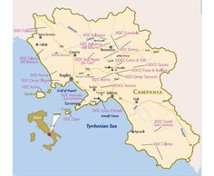 Detailed Wine Map of Campania on #Italy's Amalfi Coast