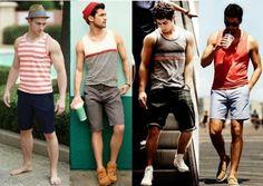 Vários modelos vestindo bermudas masculinas