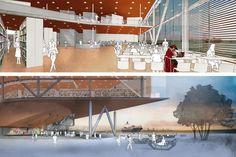 Concurso Anexo da Biblioteca Nacional, perspectivas, Rio de Janeiro, 1º lugar, arquiteto Hector Ernesto Vigliecca Gani<br />Imagem divulgação