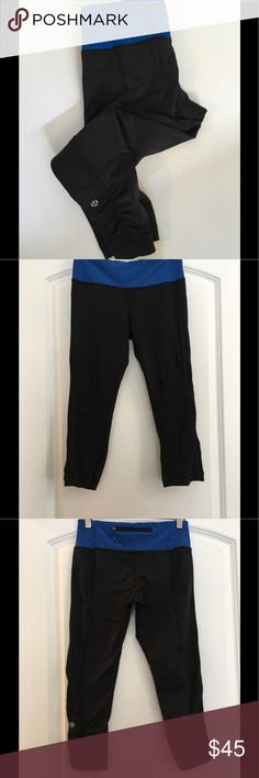 Lululemon capris Great pair of Lululemon capris in excellent condition! These great black capris are accented with a beautiful royal blue! Size 4! lululemon athletica Pants Capris