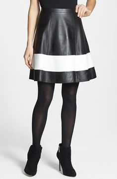 Halogen® Contrast Border Flared Leather Skirt available at #Nordstrom