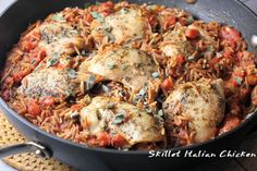 Skillet Italian Chicken with Orzo - one pan wonder!