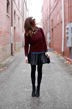 Leather skirt? Check. Festive jewel-toned sweater? Check. Statement necklace? Check. This holiday-ready party look is just about perfect. The best part? It includes items that you probably already own