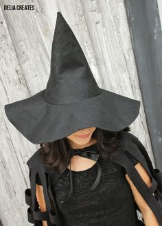 How-to for making a witch's hat (uses premium felt, but could be adapted for thinner fabric and stiff interfacing).