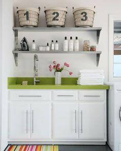 Renovation Inspiration Bold Colored Countertops Laundry Room Shelveslaundry