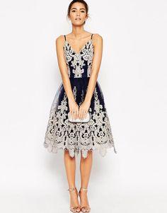 Chi Chi London | Chi Chi London Cami Strap Midi Premium Lace Tulle Prom Dress at ASOS