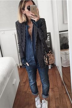 Best How To Wear Overalls Shorts Jeans 42 Ideas Fashion Mode, Look Fashion, Autumn Fashion, Fashion Outfits, Womens Fashion, Short Outfits, Casual Outfits, Jeans Overall, Look Blazer