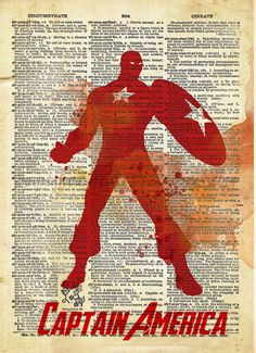 Captain America print, Avengers Art, minimalist splatter art, Retro Super Hero Art, Dictionary print art