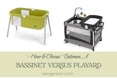 How to choose between a bassinet versus playard for a baby registry. Tips on what to look for from a real mom's point of view - baby gear review from sengerson.com.
