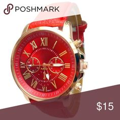 🎁5 for $25🎁 Watch with leatherband Watch with large face. Brand new and never worn.  ***Limit 1 watch per bundle special. This applies to all watches in my closet.*** Accessories Watches