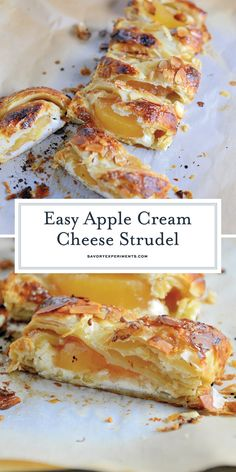 Easy Apple Cream Cheese Strudel Pastry isn't as challenging as you might think! My Easy Apple Cream Cheese Strudel uses only 6 ingredients and 10 minutes to prepare for a fancy-pants breakfast or dessert! Easy Pastry Recipes, Strudel Recipes, Puff Pastry Desserts, Cream Cheese Recipes, Baking Recipes, Cream Cheeses, German Apple Strudel Recipe, Dessert, Kitchen