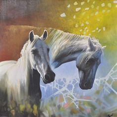 Original oil on canvas. White horses - 100X100cm. Free shipping worldwide. Price: $3990.