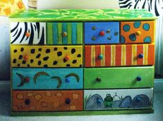 Jungle dresser found at a flea market. Illustrated it for a little boys room.