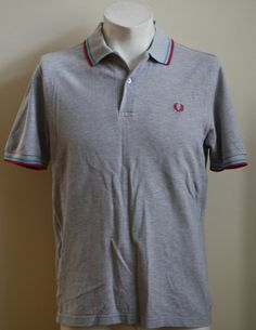 Vintage Fred Perry Polo Shirt Size M Fashion Designer Mens Grey Quality Cotton