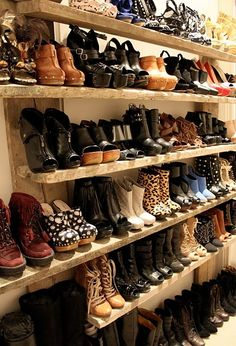 Erin Wasson's shoes. i need this closet.  and, a step ladder.  Looks like a shoe store!