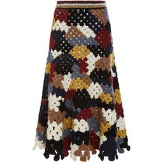 Rosetta Getty Chunky Alpaca Patchwork Crochet Skirt ($2,600) ❤ liked on Polyvore featuring skirts, knee high skirts, crochet skirt, pull on skirt, a line skirt and knee length a line skirt