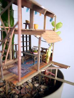 Casas da árvore em miniatura de Jedediah Corwyn Voltz